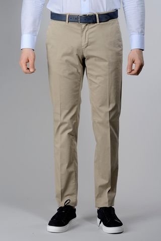 beige trousers dyed stretch cotton slim Angelico