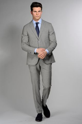 light grey structured suit slim 100s Angelico