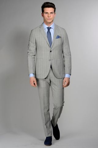 light grey suit blue pinstripes slim Angelico