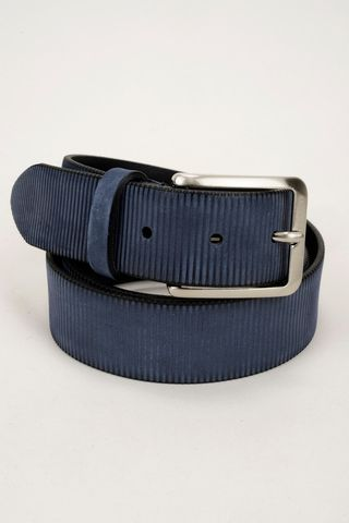Cintura blu nabuk rigato Angelico