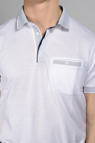 white lisle polo striped collar Angelico