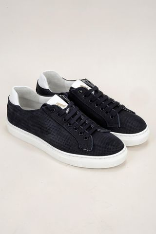 Sneaker blu pelle traforata Angelico