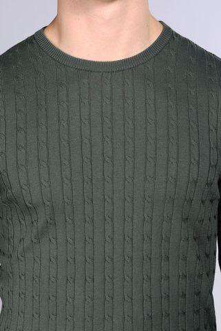 maglia verdone trecce cotone tintocapo Angelico