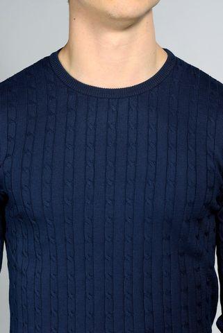 maglia blu trecce cotone tintocapo Angelico