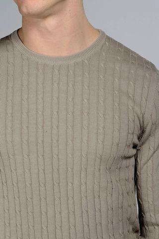 maglia beige trecce cotone tc Angelico