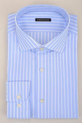 light blue shirt white stripes comfort Angelico