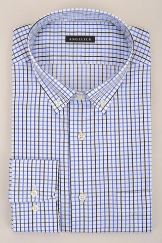 white shirt blue checkered bd comfort Angelico