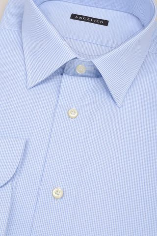 light blue shirt micro-checkered comfort Angelico