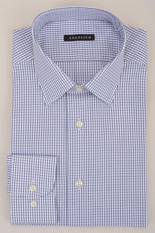 camicia bianca quadretto blu slim Angelico