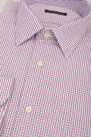 camicia bianca quadretto rosso slim Angelico
