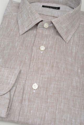 camicia nocciola lino melange Angelico