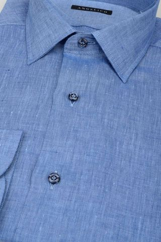blue linen shirt Angelico