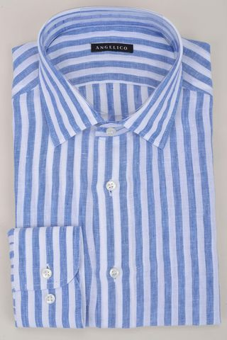 camicia azzurro-bianco rigata lino Angelico