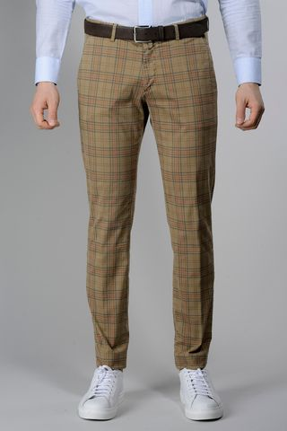 Sand trousers blue-red Wales slim Angelico