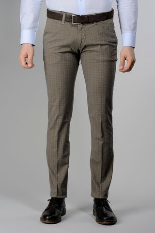 Tobacco trousers micro-Wales cotton slim Angelico