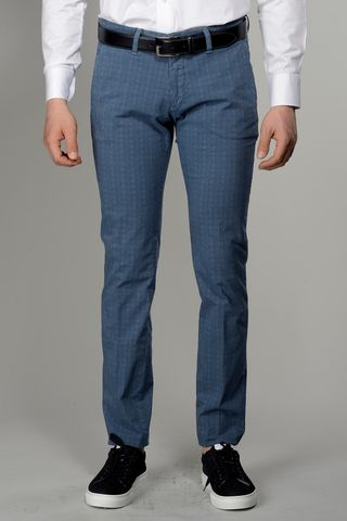Blue trousers micro-Wales cotton slim Angelico