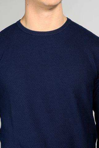 blue crewneck pullover diagonally knit Angelico