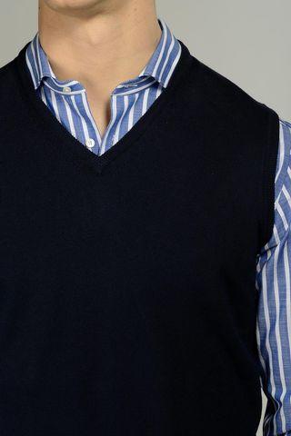 gilet blu cotone v Angelico