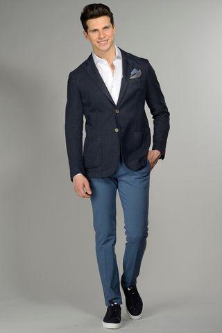 blue jacket 2 buttonscotton-ramie slim Angelico