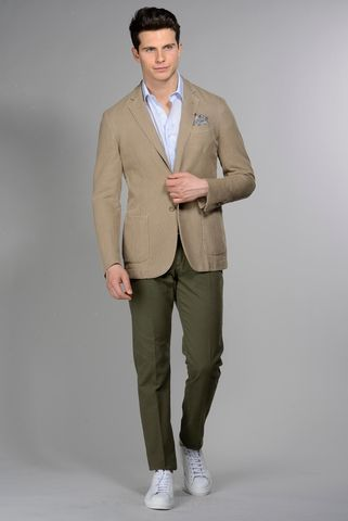 Light brown jacket 2 buttons cotton-ramie slim Angelico