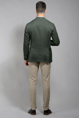 giacca verde 2 bottoni cotone slim Angelico