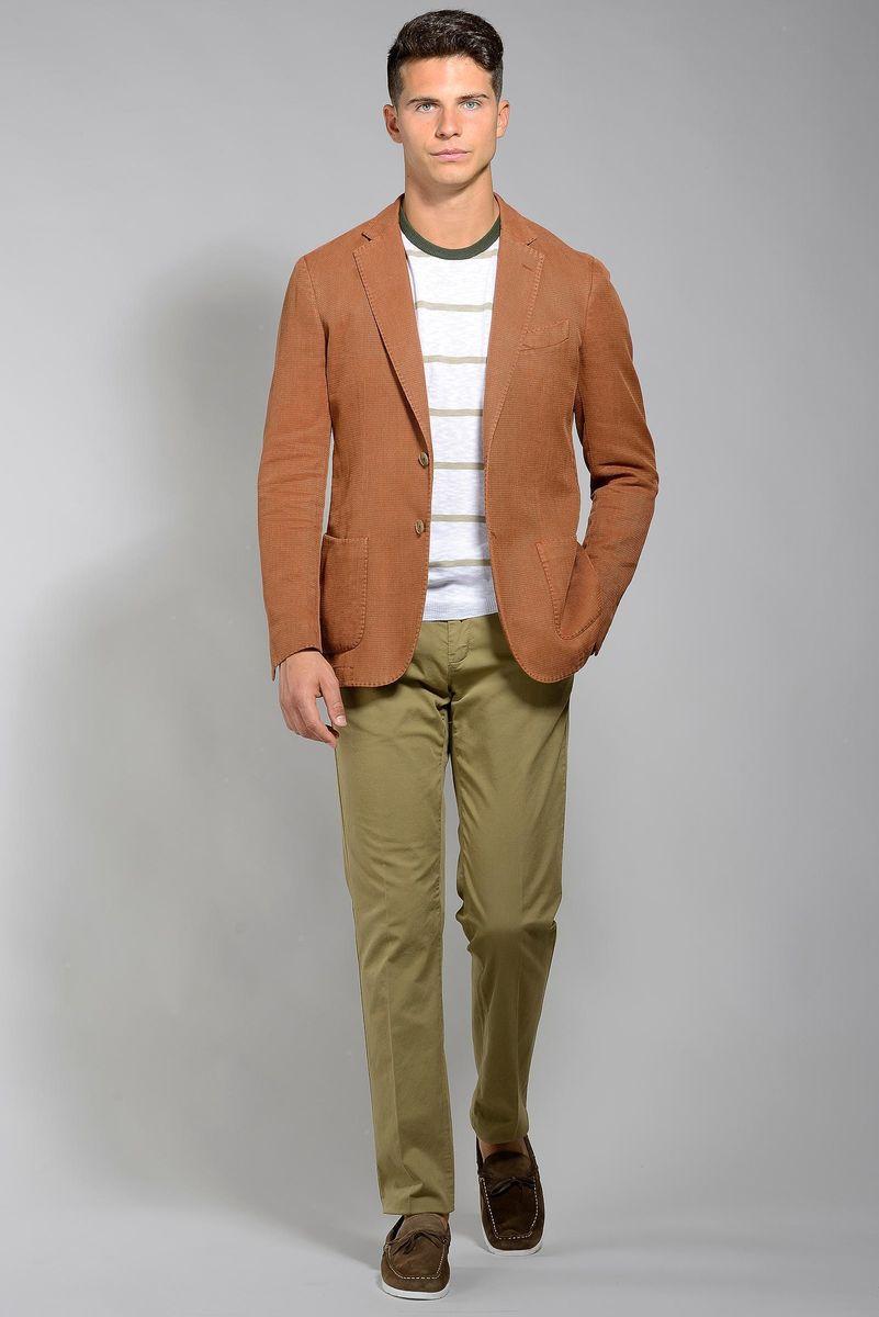 giacca ruggine sportiva cotone-ramie slim Angelico