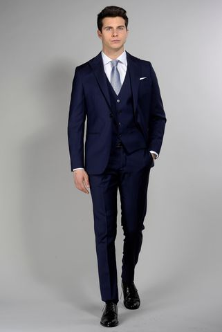 blue suit with waistcoat slim flli cerruti Angelico