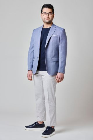 light blue jacket cotton-line comfort. Angelico