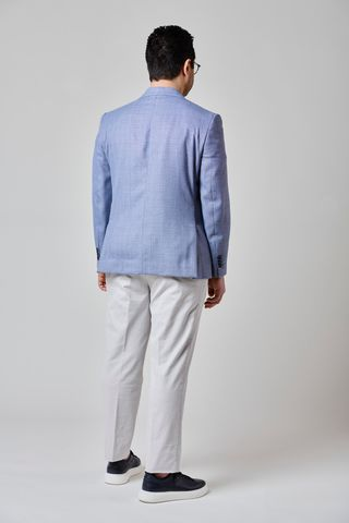 giacca azzurra cotone-lino comoda Angelico
