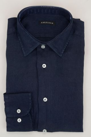 navy linen shirt Angelico