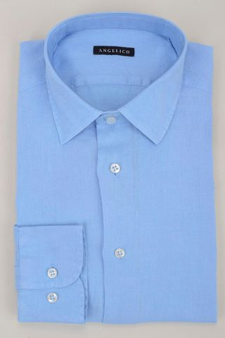 baby blue linen shirt Angelico