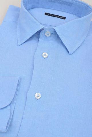 camicia azzurra lino melange Angelico