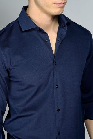 navy lisle polo long sleeves Angelico