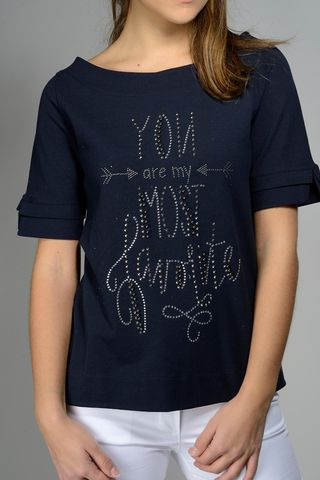navy t-shirt sweatshirt write rhinestone Angelico