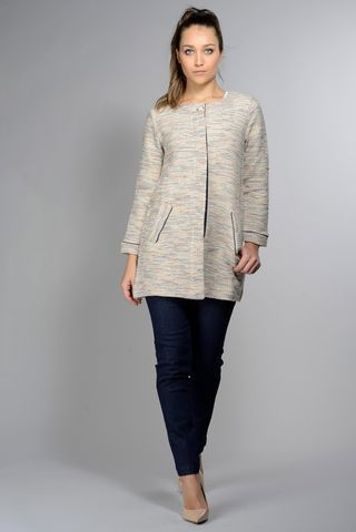 Giacca chanel lunga beige-lurex bottone gioiello Angelico