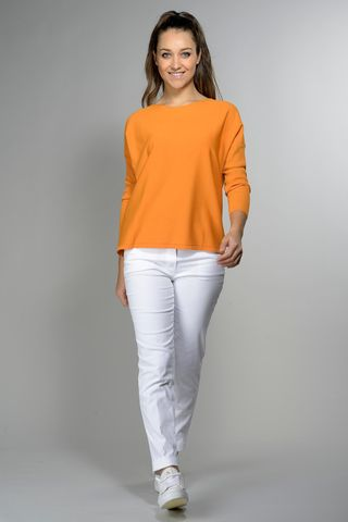 apricot wide neck blouse 3/4 Angelico