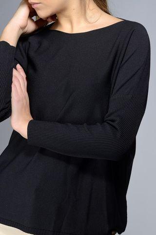 maglia nera ampia barchetta 3/4 Angelico