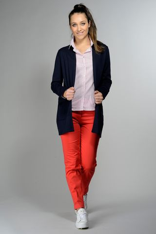 blue long cardigan with pockets Angelico