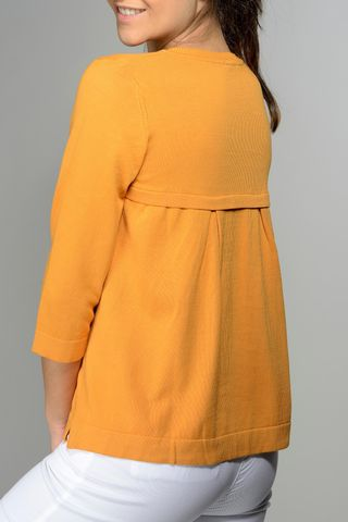 orange pullover opened pleats at back Angelico