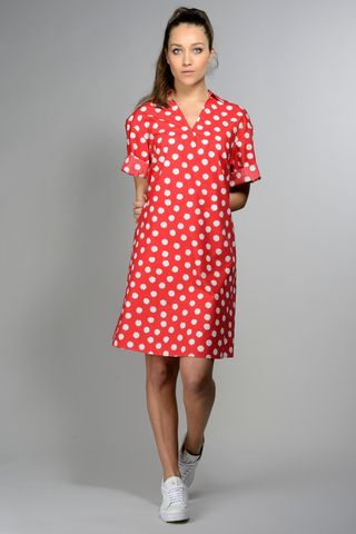 red flared  dress white polka dots Angelico