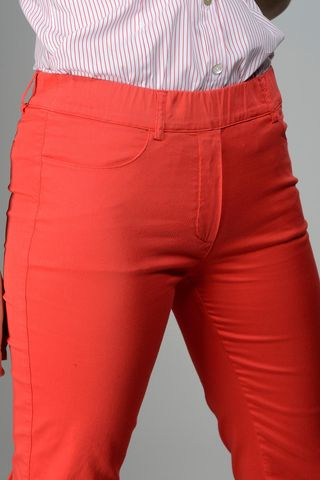 red stretch leggings with turn-up Angelico