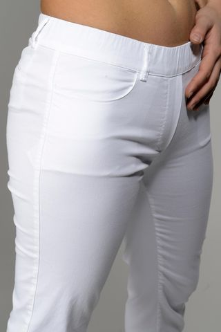 white stretch leggings with turn-up Angelico