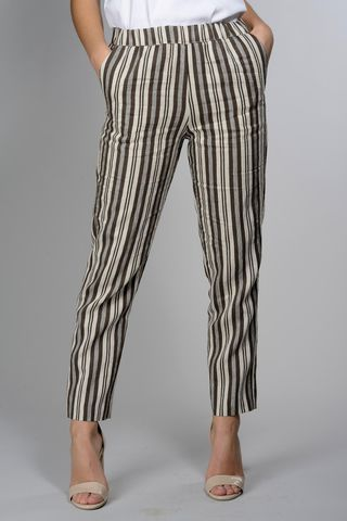 Brown-cream striped pants linen-cotton Angelico
