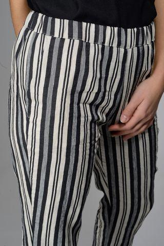 black-cream striped pants linen-cotton Angelico