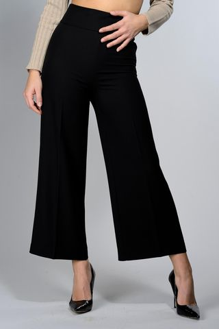 black wide cropped pants Angelico