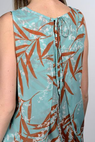 sleeveless turquoise floral top Angelico