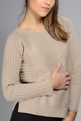 maglia cammello cotone manica coste Angelico