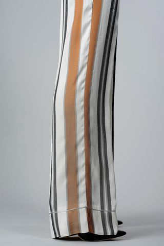 pantalone palazzo rigato bianco-rame-nero Angelico