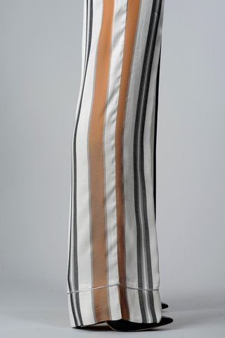white-copper striped wide trousers Angelico