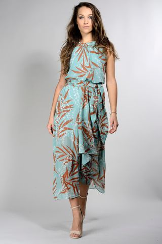 sleeveless turquoise-tobacco floral dress Angelico